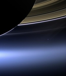 earth behind saturn rings