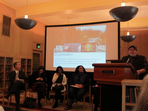 From left to right: Panelists David Vázquez, Julie Minich, Naveeda Khan, Jennifer James, and J Bacon